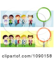 Clipart School Children Bus Stop Banners Royalty Free Vector Illustration