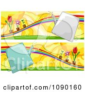 Clipart Rainbow And Potted Plant Gardening Banners Royalty Free Vector Illustration