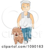 Clipart Fit Senior Man Walking His Dog Royalty Free Vector Illustration
