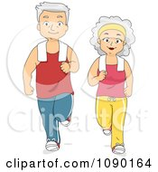 Clipart Fit Senior Couple Jogging Together Royalty Free Vector Illustration