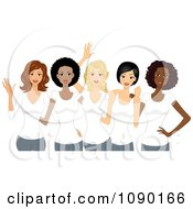 Clipart Diverse Ladies Wearing White T Shirts On International Womens Day Royalty Free Vector Illustration by BNP Design Studio #COLLC1090166-0148