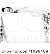 Clipart Blank Sign Against A Highway And Urban City Royalty Free Vector Illustration