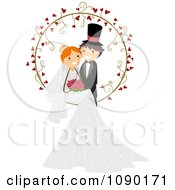Wedding Couple Posing In A Heart Vine Ring