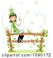 Female St Patricks Day Leprechaun Sitting On A Fence With Clover Vines