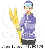 Clipart Winter Woman Holding Skis Royalty Free Vector Illustration