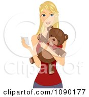 Clipart Happy Woman Holding A Valentine Card And Teddy Bear Royalty Free Vector Illustration