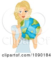 Clipart Pretty Blond Woman Holding Earth Royalty Free Vector Illustration by BNP Design Studio
