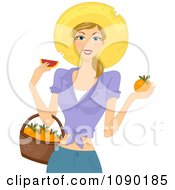 Clipart Summer Woman Holding A Basket And Eating A Fresh Grapefruit Royalty Free Vector Illustration