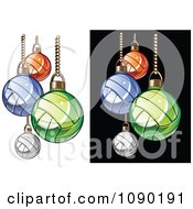 Clipart Colorful Volleyball Christmas Ornaments Royalty Free Vector Illustration by Chromaco