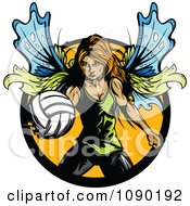 Clipart Female Fairy Playing Volleyball Royalty Free Vector Illustration