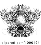 Clipart Ornate Winged Volleyball Royalty Free Vector Illustration