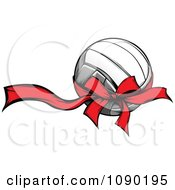 Clipart Volleyball With A Red Ribbon And Bow Royalty Free Vector Illustration by Chromaco