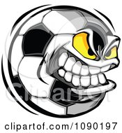 Clipart Aggressive Soccer Ball Character Royalty Free Vector Illustration