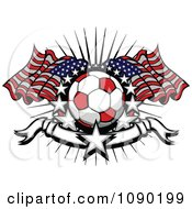 Clipart Soccer Ball Over American Flags With Stars And A Banner Royalty Free Vector Illustration by Chromaco
