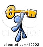Excited Blue Businessman Holding Up A Large Golden Skeleton Key