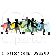 Clipart Silhouetted Children Playing Soccer Over Colorful Scribbles Royalty Free Vector Illustration