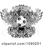 Clipart Soccer Ball Over Ornate Wings Royalty Free Vector Illustration by Chromaco
