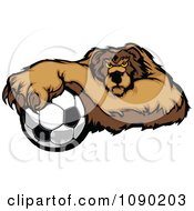 Clipart Soccer Bear Mascot Resting One Paw On A Ball Royalty Free Vector Illustration by Chromaco