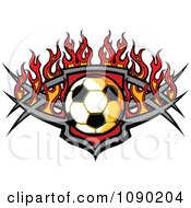 Soccer Ball Over A Tribal Badge And Flames