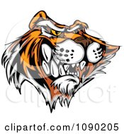 Clipart Bad Tiger Mascot With Sharp Teeth Royalty Free Vector Illustration