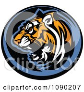 Clipart Aggressive Tiger Mascot Circle Royalty Free Vector Illustration by Chromaco