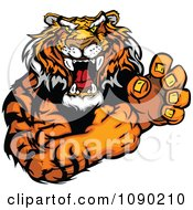 Clipart Fighting Tiger Mascot With Fists Royalty Free Vector Illustration