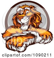 Clipart Friendly Tiger Mascot With Crossed Paws Royalty Free Vector Illustration by Chromaco