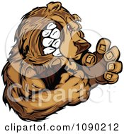 Clipart Fighting Bear Mascot Royalty Free Vector Illustration
