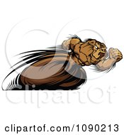 Clipart Fast Track And Field Bear Mascot Sprinting Royalty Free Vector Illustration