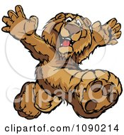 Clipart Bear Mascot Running Upright Royalty Free Vector Illustration