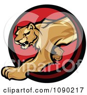 Clipart Prowling Cougar Mascot Circle Royalty Free Vector Illustration