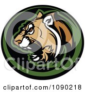 Clipart Aggressive Cougar Mascot Circle Royalty Free Vector Illustration by Chromaco