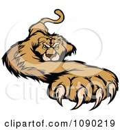 Clipart Attacking Cougar Mascot With A Paw Stretched Outwards Royalty Free Vector Illustration