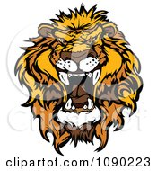 Clipart Mad African Lion Mascot Head Royalty Free Vector Illustration by Chromaco