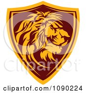 Clipart Profiled Lion Mascot Shield Badge Royalty Free Vector Illustration by Chromaco #COLLC1090224-0173