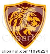 Clipart Profiled Lion Mascot Shield Badge Royalty Free Vector Illustration