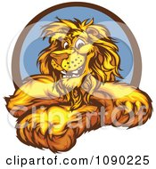 Smiling Lion Mascot With Crossed Arms