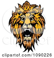Clipart Roaring African Lion Mascot Head Royalty Free Vector Illustration by Chromaco