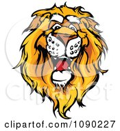 Clipart Friendly African Lion Mascot Head Royalty Free Vector Illustration