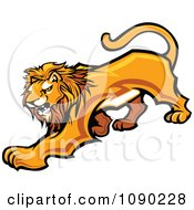 Clipart Male Lion Mascot Prowling Royalty Free Vector Illustration
