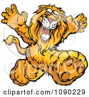 Clipart Lion Mascot Running Upright Royalty Free Vector Illustration