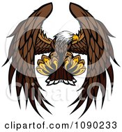 Clipart Bald Eagle Mascot Flying And Reaching With Talons Royalty Free Vector Illustration