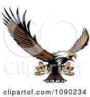 Clipart Bald Eagle Mascot Flying And Reaching With Claws Royalty Free Vector Illustration