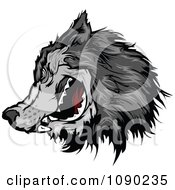 Clipart Gray Wolf Head Mascot Royalty Free Vector Illustration by Chromaco