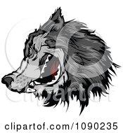 Gray Wolf Head Mascot