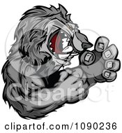 Clipart Fighting Gray Wolf Mascot Royalty Free Vector Illustration