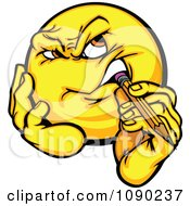 Clipart Emoticon Thinking And Biting A Pencil Royalty Free Vector Illustration