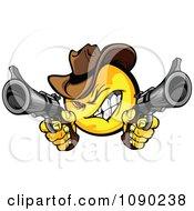 Clipart Wild West Cowboy Emoticon Bandit Shooting Pistols Royalty Free Vector Illustration