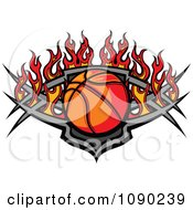 Basketball Over A Tribal Shield And Flames