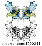 Clipart Ornate Fairy Wings Royalty Free Vector Illustration